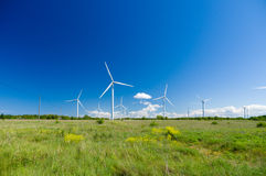 Green meadow with wind turbines generating electricity Royalty Free Stock Photo