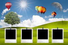 Green Meadow With Hot Air Balloon Stock Image