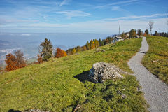 Green meadows above Lake Lucerne, near mount Rigi, Alps Royalty Free Stock Images
