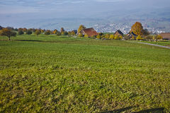 Green meadows above Lake Lucerne Royalty Free Stock Image