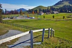 Green meadows above Lake Lucerne, near mount Rigi, Alps Stock Photo
