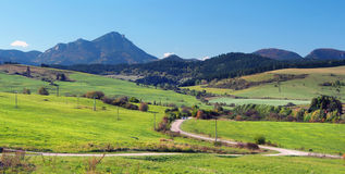 Green meadows at Bobrovnik and Great Choc Mountain royalty free stock photos
