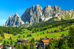 Green meadows and high mountains above Cortina D ampezzo,Italy Royalty Free Stock Image