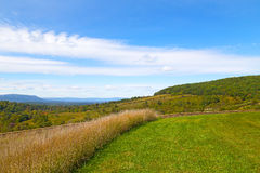 Green meadows and hills of countryside in Virginia. Countryside natural landscape on sunny afternoon Royalty Free Stock Image