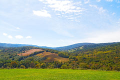 Green meadows and hills of countryside in Virginia. Countryside natural landscape on sunny afternoon Stock Photography
