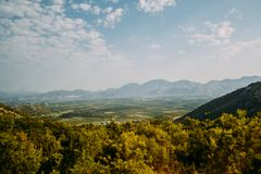 Green meadows and mountains of Croatia royalty free stock photos