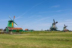 Green meadows and old windmills in Zaanse Schans, Netherlands, Europe royalty free stock photos