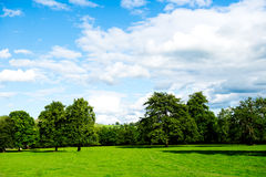 Green Meadows and Trees in Beautiful Ilam Hall  in Peak District Stock Photos