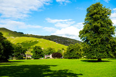 Green Meadows and Trees in Beautiful Ilam Hall  in Peak District Royalty Free Stock Photo