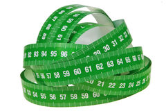 Green measurement tapes bundle. Stock Photos
