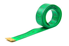 Green measuring tape Royalty Free Stock Photo