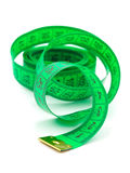 Green measuring tape Stock Image
