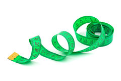 Green measuring tape Royalty Free Stock Images