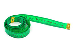 Green measuring tape Stock Photo