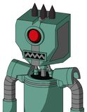Green Mech With Mechanical Head And Square Mouth And Cyclops Eye And Three Dark Spikes. Portrait style Green Mech With Mechanical Head And Square Mouth And royalty free illustration