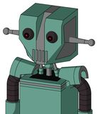 Green Mech With Mechanical Head And Vent Mouth And Red Eyed. Portrait style Green Mech With Mechanical Head And Vent Mouth And Red Eyed stock illustration