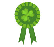 Green medal with clover, icon flat style. St. Patrick`s Day symbol. Isolated on white  Royalty Free Stock Photography