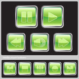 Green media buttons. Set of green media player buttons Stock Photo