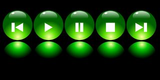 Green media buttons. On black with reflections Stock Illustration