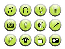 Green media icon buttons royalty free stock photography