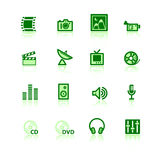 Green media icons. On the white background