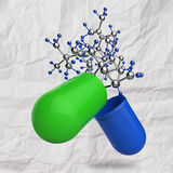 Green medical capsule and molecule structure Stock Photo