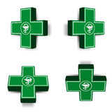 Green medical cross emblem Royalty Free Stock Photo