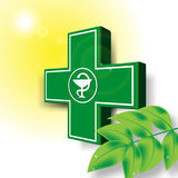 Green medical cross emblem. Green medical pharmacy cross emblem with snake royalty free illustration
