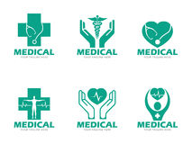 Green Medical and health care logo vector set design Royalty Free Stock Images