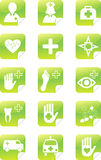 Green medical set stickers Royalty Free Stock Photos
