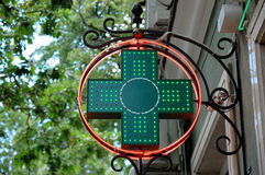 Green medical sign. Medical green sign on the wall of the building royalty free stock images