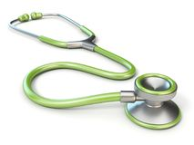 Green medical stethoscope 3D. Render illustration isolated on white background Royalty Free Stock Photography