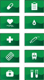 Green medicine icons set Royalty Free Stock Photography