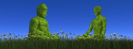Green meditation - 3D render Royalty Free Stock Images