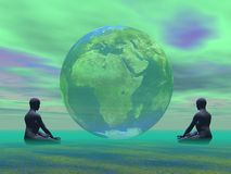 Green meditation for earth Royalty Free Stock Photography