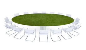 Green Meeting Table Conference Room Stock Photo