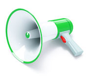 Green megaphone with red button. Isolated on white background, 3d render Royalty Free Stock Images
