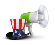 Green megaphone and Unkle Sam's hat. Royalty Free Stock Photo