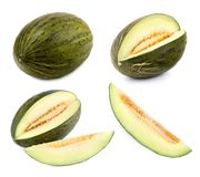 Green melon cut in different shapes Royalty Free Stock Photography