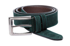 Green men leather belt isolated on white Royalty Free Stock Photos