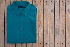 Green men shirt. Close up top view of green men shirt Stock Photography