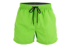 Green men shorts for swimming. Isolated on white background Stock Photos