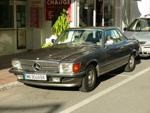 Green Mercedes-Benz 450 SLC coupe in Spain Royalty Free Stock Images
