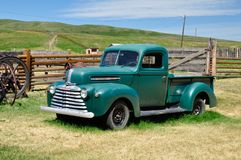 Green Mercury Truck, Bar U Ranch, Longview, Alberta July 24, 2011. Green Mercury Truck on Farm royalty free stock image