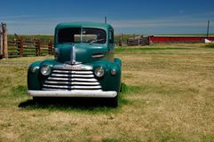 Green Mercury Truck, Bar U Ranch, Longview, Alberta July 24, 2011. Green Mercury Truck on Farm royalty free stock photo