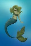 Green mermaid. Beautiful hand drawn mermaid in the sea Stock Images