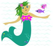 Green Mermaid in the Sea Stock Images