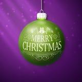 Green merry christmas ball Stock Photography
