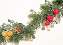 Green Merry Christmas Garland With Nature Ornaments Decoration stock images