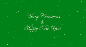 Green Merry Christmas and Happy New Year Banner. Vintage Merry Christmas banner with green background. Happy New Year message in white calligraphic lettering Stock Photos